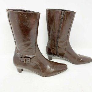 Cole Haan Women's Brown Leather Boots Mid-Calf